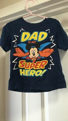 Disney Mickey Mouse Toddler Boys Shirt Size 2T Dad Is My Superhero