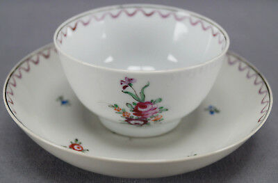 Chinese Export Qianlong Hand Painted Purple & Pink Roses Tea Bowl & Saucer 1780