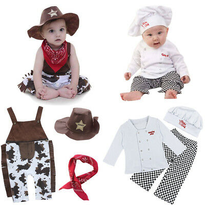 Baby Boy Girl Carnival Fancy Dress Party Costume Cook Cowboy Clothes Outfit 6-24