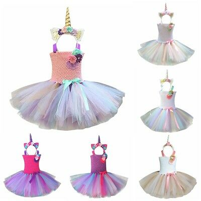Kids Girls Unicorn Outfit Tutu Dress Rainbow Party Princess Cosplay Costume Set