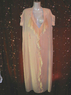Vtg Antique Lace Edwardian Silk Rayon Nightgown Art Deco 20s For Study or Prop