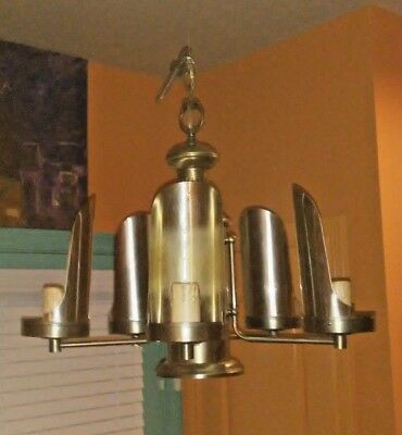Vintage Art Deco Retro Style Antique Brushed Brass 1960's Chandelier 5 Arm Light