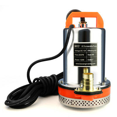 Portable 12VDC Solar Powered Submersible Shallow Well Water Pump 120W 26GPM