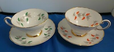 Two Crown Staffordshire teacups & Saucers Berry/grape pattern green & red