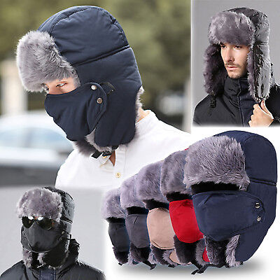 Mens Winter Faux Fur Earflap Russian Aviator Trooper Cap Trapper Hat With Mask
