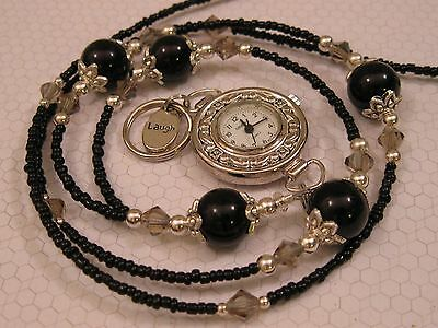 Midnight Crystal Lanyard Necklace Handmade Beaded Id Badge Holder  With Watch