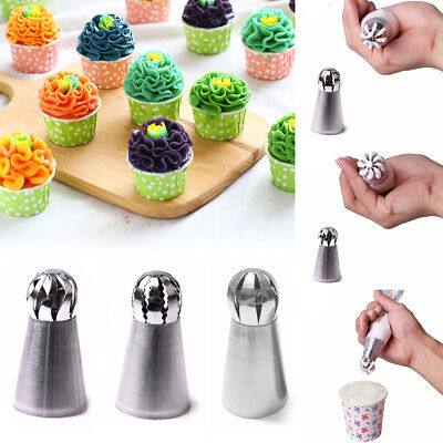 NEW 3pcs/set Sphere Ball Tips Russian Icing Piping Nozzles Tips Pastry Cupcake
