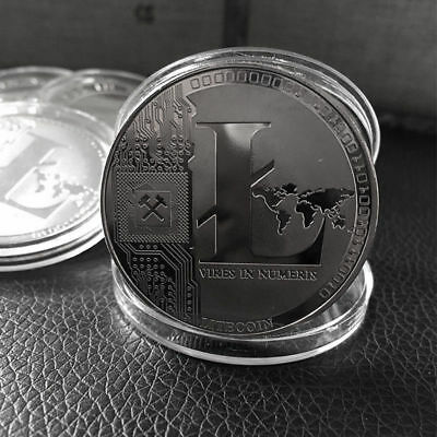Silver Plated Litecoin Coin Commemorative LTC Physical Collectible Miner Coin