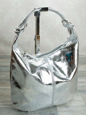 Made in Italy Shopper Shoulder Bag Taschensack Silver Metallic Real Leather 038S