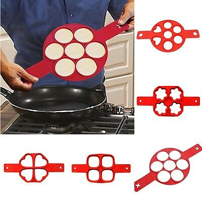 Pancake Mold Flippin Non Stick Egg Omelets Silicone Ring Make Tools 7 Cavity