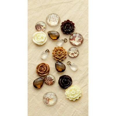 Embellishment Set: Cabochons Resin Blumen Crystals BRAUN Making Memories Vintage