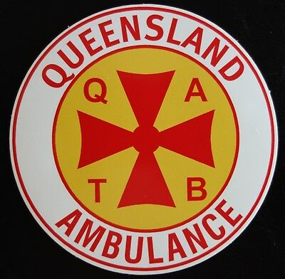 SCARCE / OBSOLETE QLD AMBULANCE QATB STICKER 83mm
