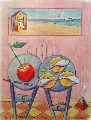 """Dimitris C. Milionis """"RED ROOM II"""" Colored Drawing Still Life Paper Greek 2002"""