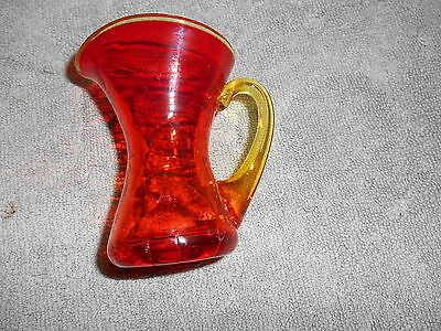 Amberina Blown Crackle Glass Pitcher With Yellow Applied Handle