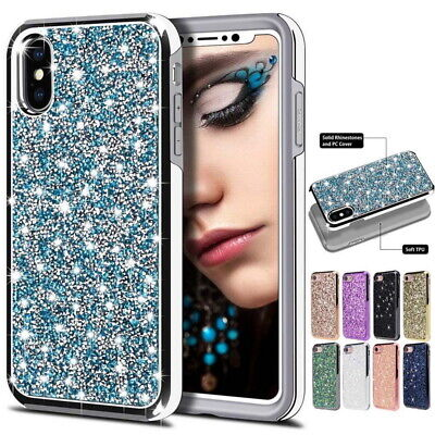 For iPhone 11 Pro XS Max X XR 7 8 Bling 3D Crystal Diamond Rhinestone Case Cover