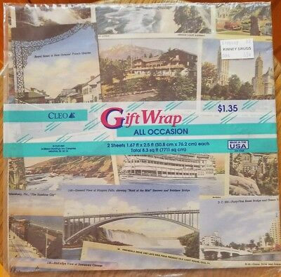 Cleo Gift Wrap All Occasion Vintage SCENIC POSTCARDS  2 Sheets NIP Scrapbooking