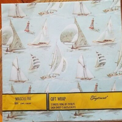 Vintage American Greetings Gift Wrap Sail boats on the water Masculine NIP