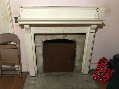 """Vintage Ash? Fireplace Mantle Surround 60"""" Wide 51"""" Tall With 41"""" X 39"""" Opening"""