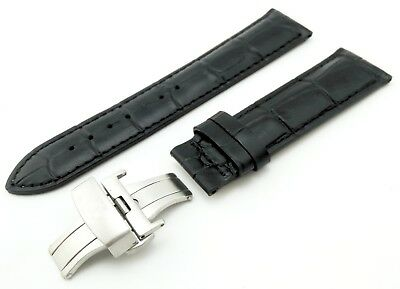 Black Leather Strap Band for Tissot Watch with Clasp and Pins 18 19 20 21 22mm