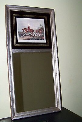 """Antique Vintage Mirror Fox Hunt Here Come The Hounds Chelsea House 21 3/4"""""""