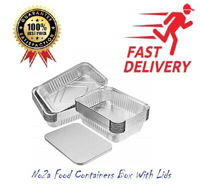 Aluminium Foil No2a Food Containers Box With Lids Best for Home and Takeaway Use