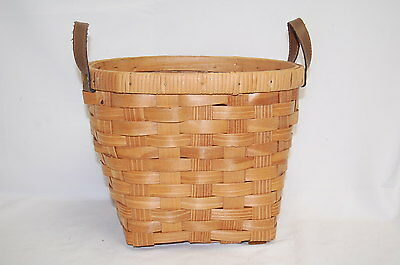 Vintage Wicker Rattan Basket With Leather Handles (#S7643)