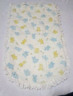 vintage changing table cover bassinet mattress cover white yellow & blue bears