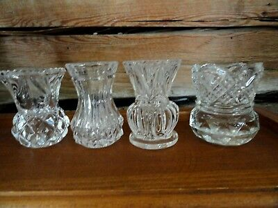 """Lot of 4 different Vintage Clear Glass Crystal Cut Toothpick Holders 2-1/2"""" tall"""
