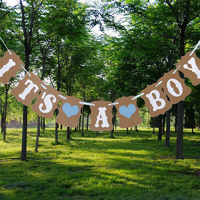 Vintage Paper Bunting Banner Boys Girls Baby Shower Party Garland Hanging Decor