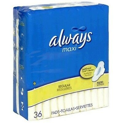 Always Maxi Pads, Regular Protection with Flexi-Wings, 36-pack