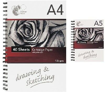A4 / A5 Drawing Sketching Sketch White Paper 135Gsm Cartridge Artists Pad