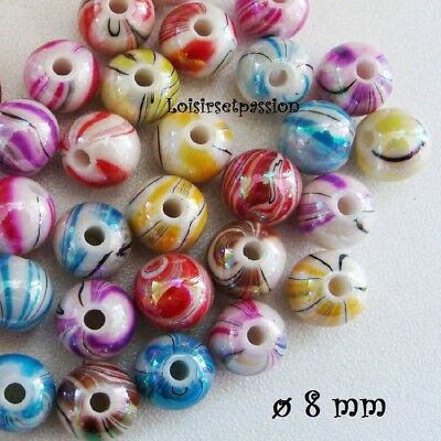 PA02 - LOT de 25 PERLES RONDES ACRYLIQUE RAYURE MARBRÉ MULTICOLORE ** 8 mm **