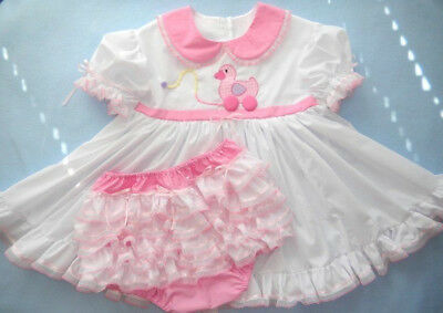 Adult Baby Sissy White Pull Toy Ducky Dress Set  Binkies_n_Bows