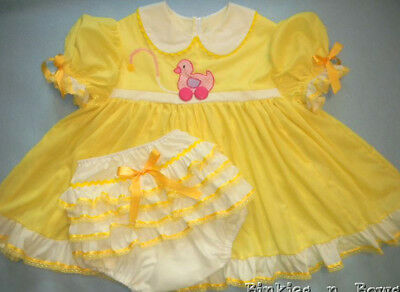 Adult Baby Sissy Yellow Pull Toy Ducky Dress Set  Binkies_n_Bows