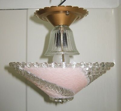 Vintage Art Deco Ceiling Light Fixture w/ Swirled Pink & Clear Glass Shade