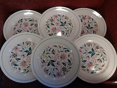 "SET of 6 RIDGWAY Stylised Floral ""KISMET"" 8.5"" SALAD PLATES - FREE UK POST"