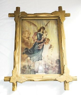 ANTIQUE TRAMP ART FRAME w/ GLASS PAINTED GOLD RELIGIOUS PRINT GIFT OF HEAVEN