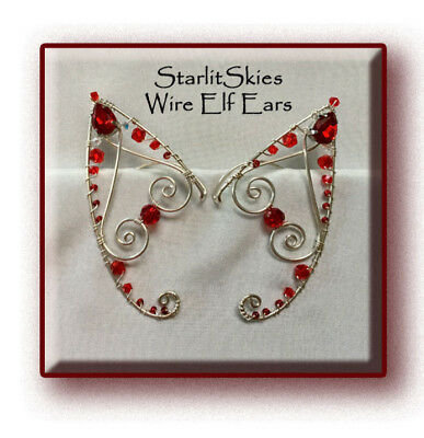 Red Wire Elf Ears crafted in Sterling Silver Filled, elf ear cuff, ear wrap.