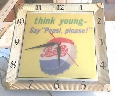 "THINK YOUNG, Say ""Pepsi Please!"" VINTAGE working clock!  Great Condition!  Free"