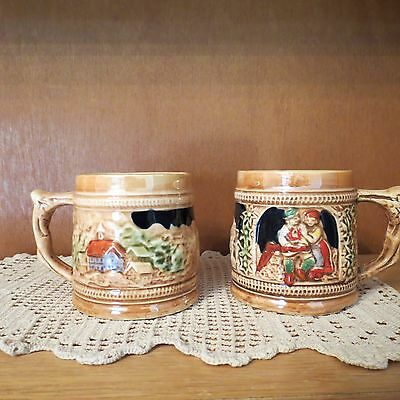 Lusterware Sanyo Made in Japan 2 Cups No Saucers Beer Stein Look   3""