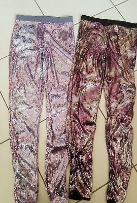 Girls sequin leggings x 2 pairs age 10-11 years candy couture & hooch