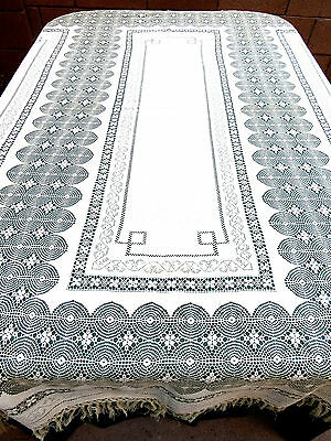Vintage Cotton Handmade Drawn work Tablecloth or Bedspread Cover 74x84
