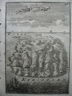 1683 - MALLET - Small decorative map St HELENA verso TABLE BAY CAPE of Good Hope