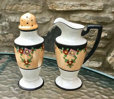 TASHIRO SHOTON '50s JAPAN LUSTRE WARE PANCAKE SUGAR SHAKER CREAM SYRUP PITCHER
