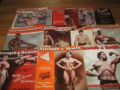 Lot Of 12 Strength & Health Bodybuilding Magazines 1939 COMPLETE YEAR