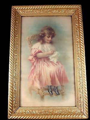 Antique ANGELO ANCHINI Italian (1850–1930) Chromolithograph THE PRINCESS AT WORK