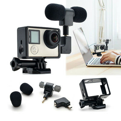 Mini Skeleton Housing Case External Microphone Adapter Kit for GoPro Hero 3 3+4