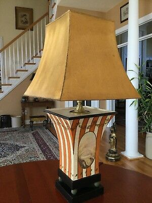 Vintage Metal Tole Table Lamp Hand Painted World's Away