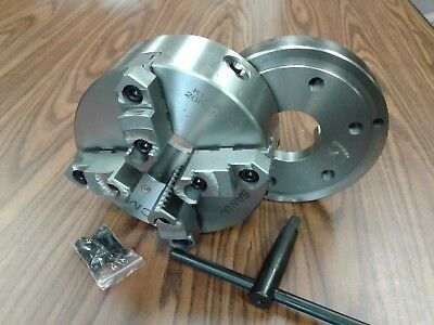 """8"""" 4-Jaw Self-Centering  Lathe Chuck top&bottom jaws w. D1-6 adapter plate-new"""