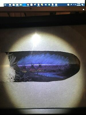 Framed Native American Art - Painted Feather